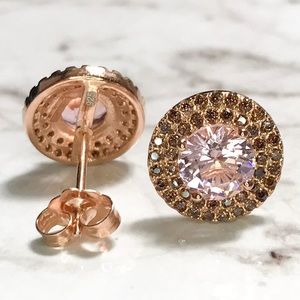 NEW 14k gold on sterling silver halo earrings